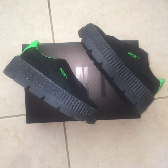 df3cc86bc49 Rihanna Fenty Cleated Creeper Black Green Shoes